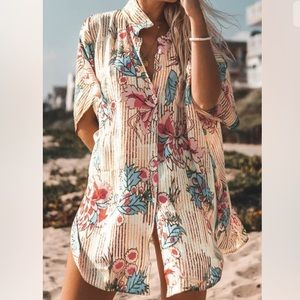 Cupshe Swim Cover Up Floral Print Button Down